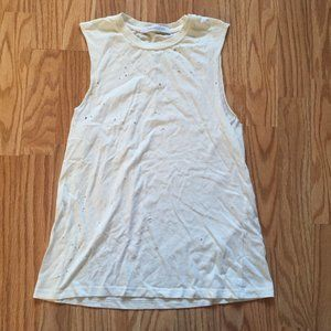 DAYDREAMER WHITE COTTON DISTRESSED TANK TOP